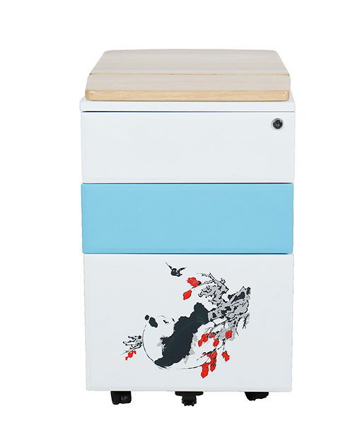 Customized office furniture mobile pedestal metal filing cabinet with floral prints