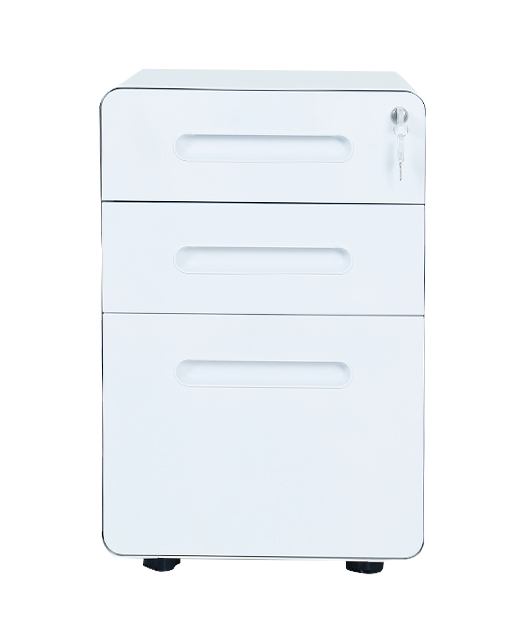Office Furniture Industry Metal White Small Cabinet With Rolling Shutter