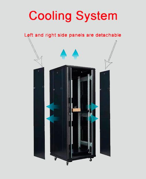 2m high quality black spcc Indoor rack server network cabinet