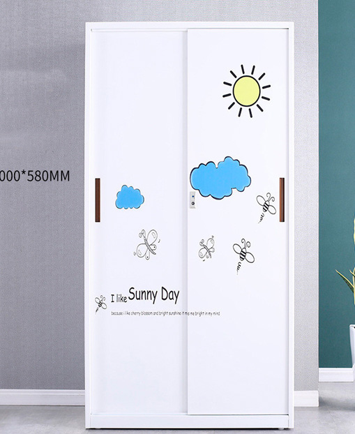 New Fashion Child's Move the door Steel Cabinet Wardrobe Household